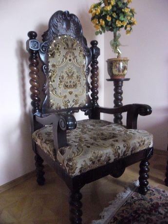 Meble drewniane rzeźbione komplet ława krzesła kanapa stojak unikat