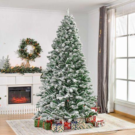Árvore de Natal Ø140x225cm Neve Artificial com 1083 Pontas de PVC