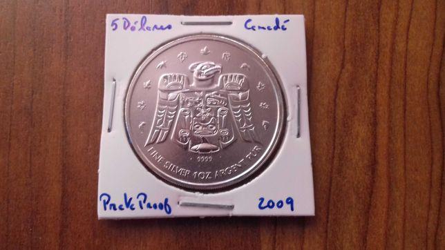 Moeda 5 Dólares 2009 Canadá - Prata Proof