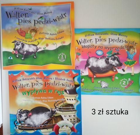"""Książki z serii """"Walter. Pies pędzi-wiatr""""."""