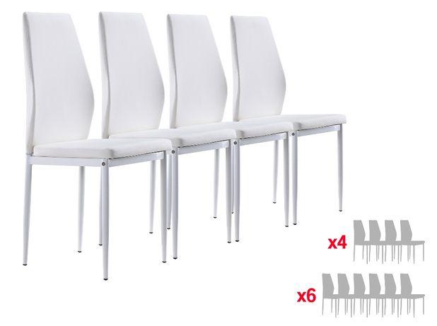 Conjunto de 4 ou 6 cadeiras de sala ou cozinha - Branco ou Preto Raul