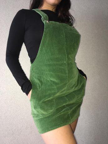 Вельветовый зеленый сарафан, размер М