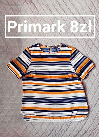 Klasyczna damska bluzka w paski krótki rękaw Primark 40 L oversize