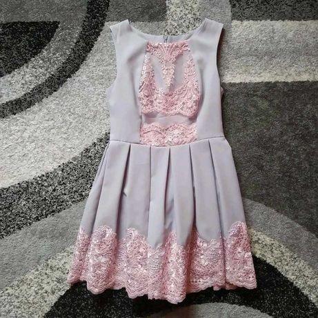 Szara sukienka z różową koronką   Bicotone 40