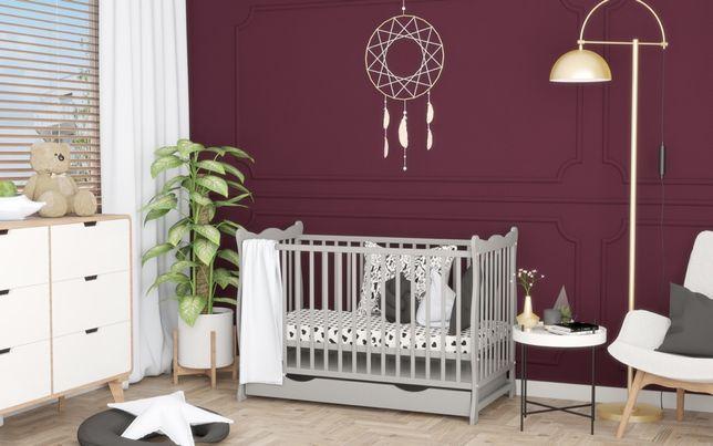 Drewniane łóżeczko/tapczan z szufladą JULIA szare 120x60cm