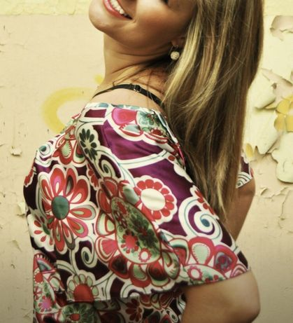 Koszula z kwiatami wzory folklorowe pretty girl różowa kolorowa wiazan