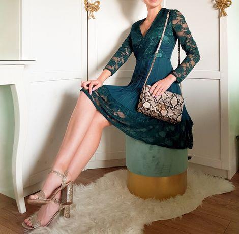 Sukienka ASOS DESIGN Plisowana sukienka z koronką XS/34