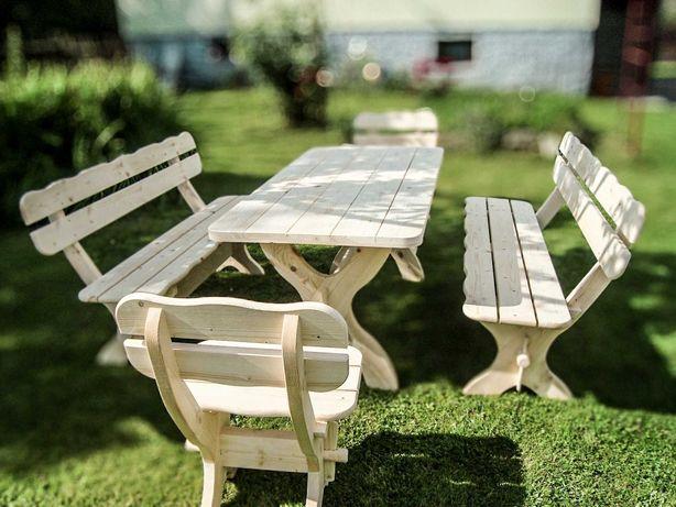 Meble ogrodowe drewniane zestaw krzesła ławka stół z drewna mocne