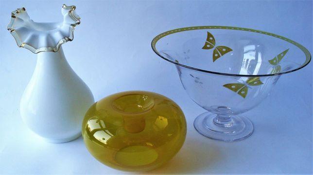 Szklany stary wazon,świecznik,Patera szkło