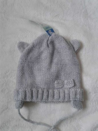 Теплая шапка на 1-2года