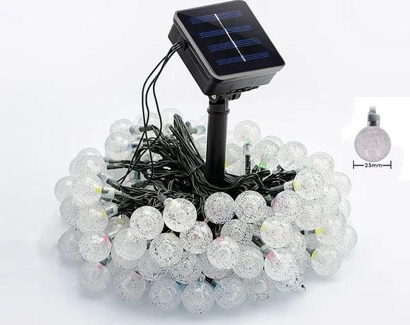 Уличная гирлянда на солнечной батарее Хрустальные шарики 60 led 11м