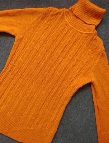 Rudy golf sweter z domieszką kaszmiru s/m