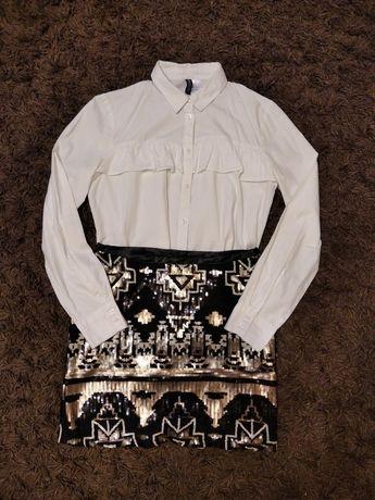 Spódnica i koszula zestaw elegancki cekiny