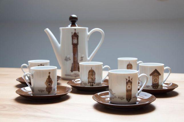 zestaw do kawy/herbaty, retro, vintage zegary