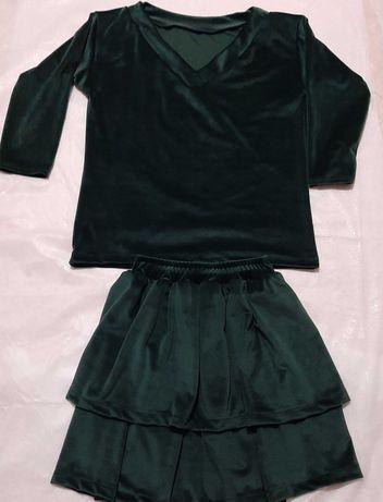 Komplet bluzka +spódnica welurowy