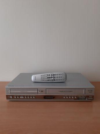 Magnetowid video Philips z DVD dwa w jednym urządzeniu z pilotem.