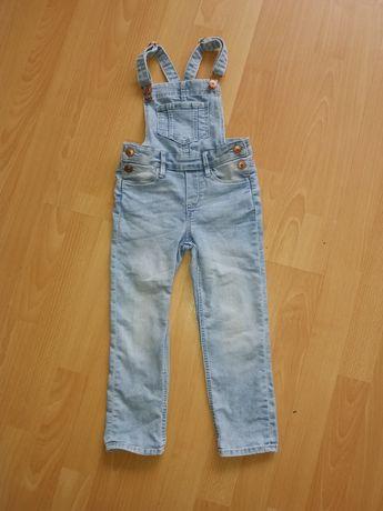 H&m spodnie ogrodniczki jeansowe rozm.104