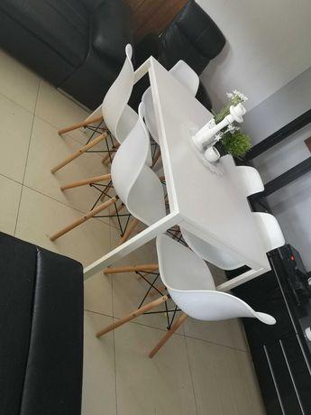 Stół bialy krzesła 6 sztuk białe jak nowe nowoczesny skandynawski dowó