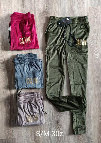 Spodnie dresowe damskie welurowe ściągacz Calvin granat bordowe khaki
