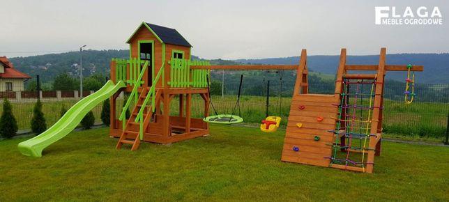 Plac zabaw dla dzieci, domek dla dzieci, wspinaczki, huśtawki