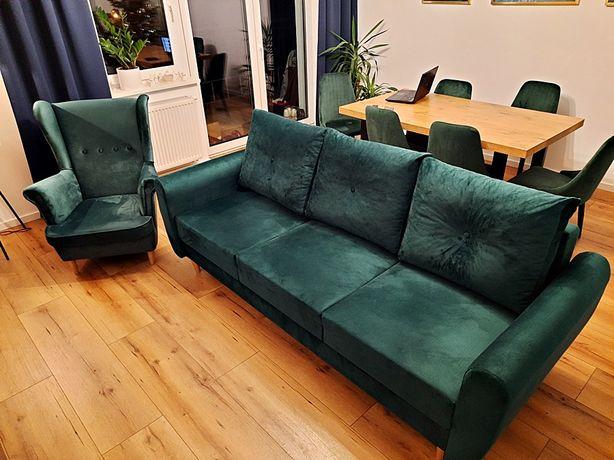 Sofa rozkładana z fotelem, butelkowa zieleń. Stan idealny.