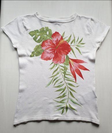 Biała bluzka wiskoza S 36 Hennes for H&M kwiaty krótki rękaw