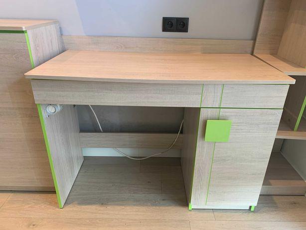 biurko młodzieżowe w kolorze dąb santana/zieleń