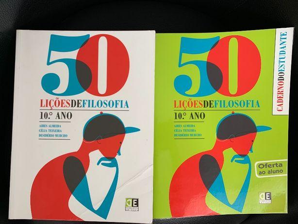 """Livro filosofia 10ano """"50 lições de filosofia' didática editora + C.A"""