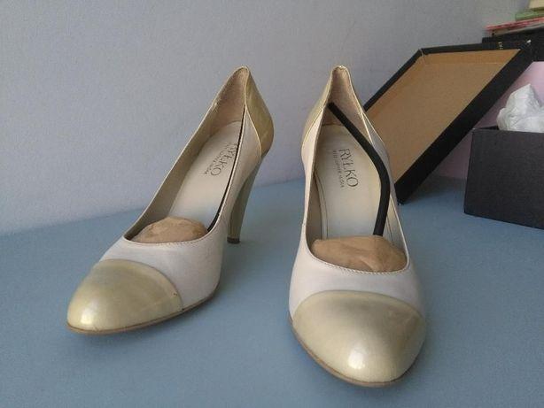 Buty ślubne Ryłko 38,5 białe + kremowe lakierowane czubki i obcasy