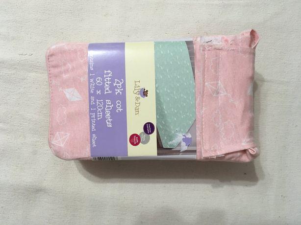 Простынь для детской кроватки новая на резинке 60 х 120
