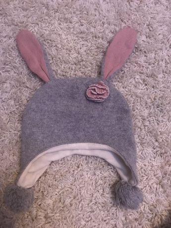 Тёплая шапка с ушками 1-3 года