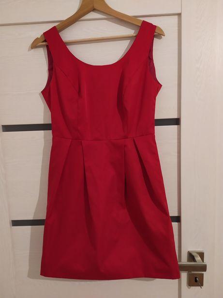 Sukienka Lena malinowa, rozmiar 38/M, wesele, lekko rozkloszowana