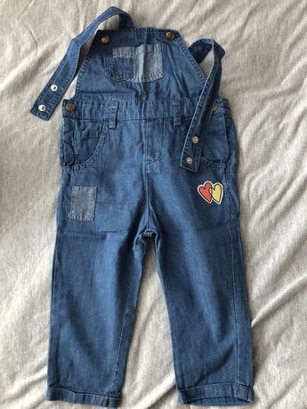 Cienkie ogrodniczki jeansowe dla dziewczynki 5.10.15 rozm 80