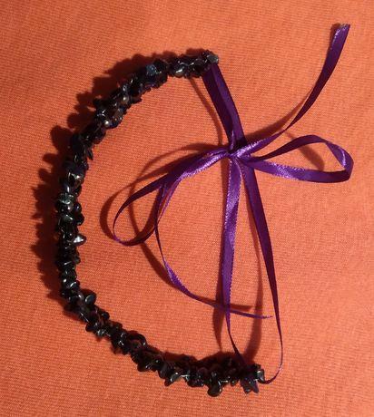 """Ободок украшение для волос с авантюрином""""ночь каира"""" и черным жемчугом"""