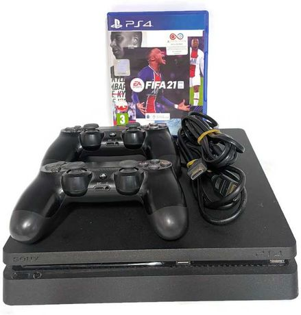 Konsola PS4 Slim 1TB 2X pad gra okablowanie
