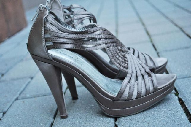 Beżowe(złote) szpilki sandałki jak nowe