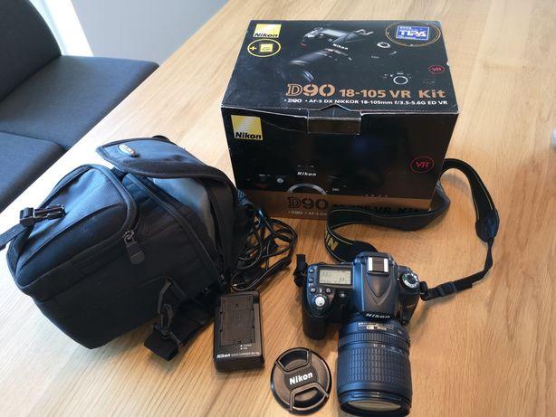 Nikon D90 obiektyw Nikkor 18-105mm, torba, pudełko