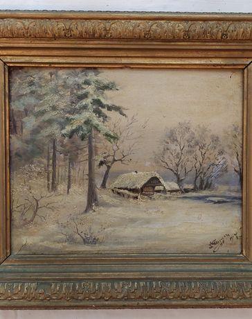 Антикварная картина, живопись маслом.