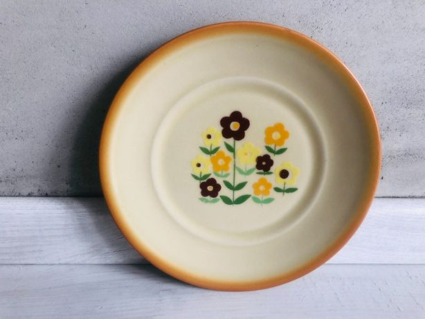 Talerze Tułowice PRL brązowe porcelana kwiaty kwiatki talerz 5 sztuk