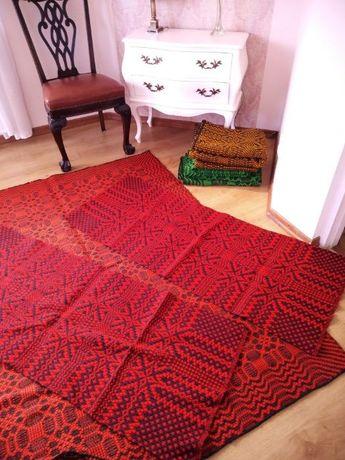 PRL komplet czerwona narzuta łóżko i 2 fotele, wełna, kapa, kilim