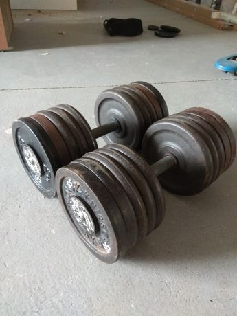 Hantle żeliwne skręcane na stałe 2x52 kg - sztangielki