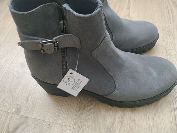 Buty skórzane nowe szare