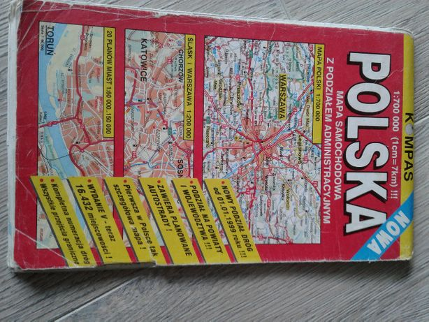 Mapa samochodowa Polska 1999/2000 wydanie V wydaw.KOMPAS