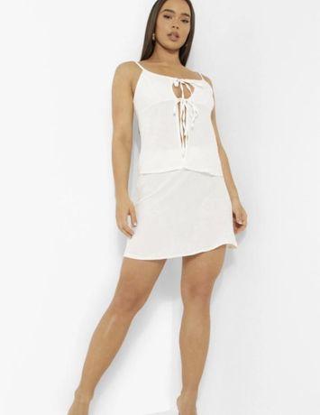 Шифоновая белая юбка