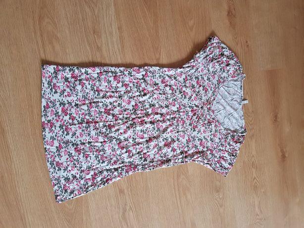 Tunika sukienka do karmienia piersią z krótkim rękawem L w kwiatki