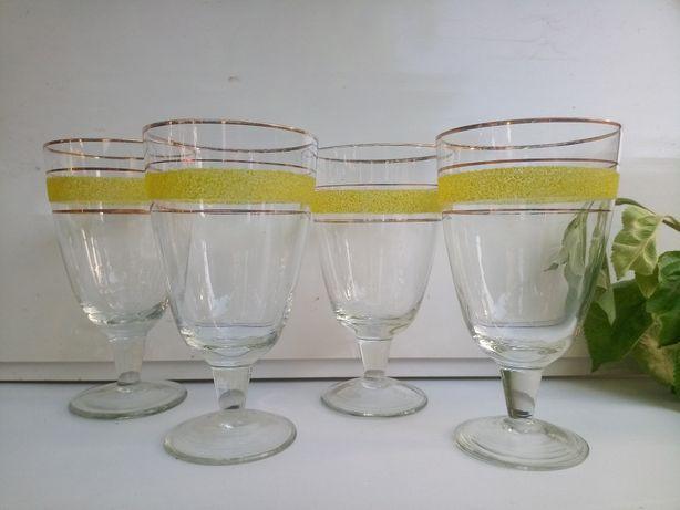 Жёлтые стеклянные бокалы 4шт