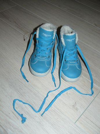 Nowe buty turkusowe EXXESS ocieplane r. 30 wiązane wkł. ok. 19 cm