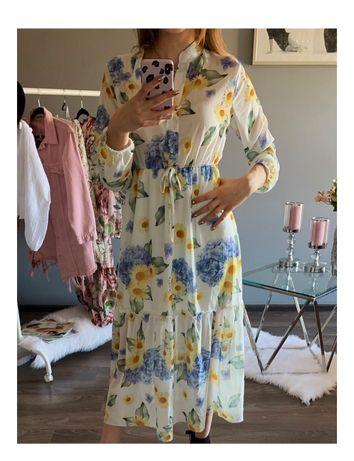 Biała długa sukienka boho vintage w kwiaty. Sukienka maxi S M L