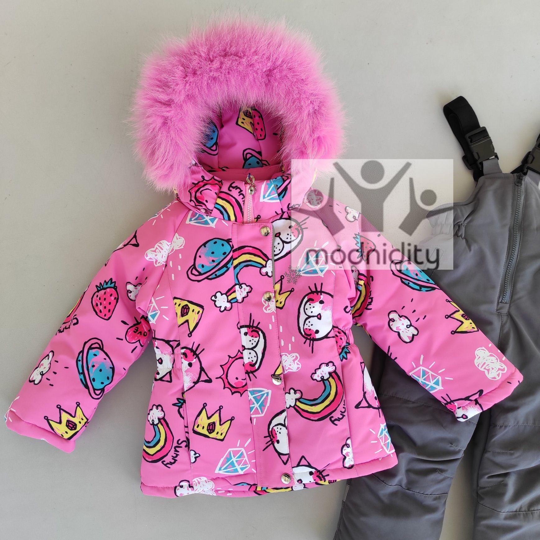 Зимний термо комбинезон детский для девочек на возраст 3, 4, 5, 6 лет