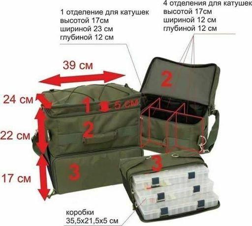 Двухсоставная рыбацкая сумка для катушек и снастей зеленая